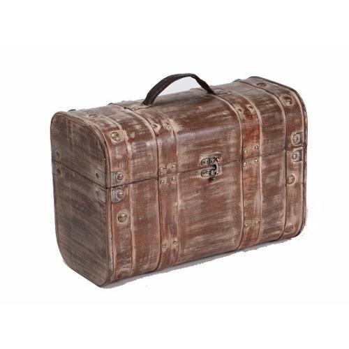 Mallette en bois cérusé aspect ancien pour bouteilles de vin pas chere valise