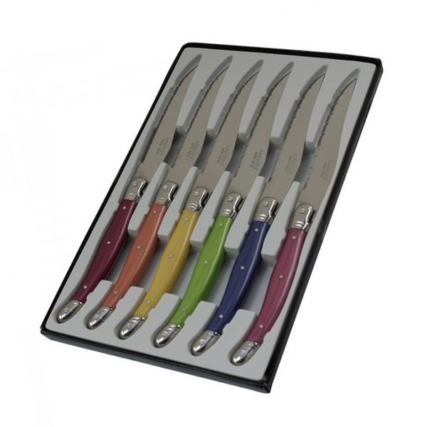 boite de 6 couteaux laguiole manche pastel effet nacre I7209P6