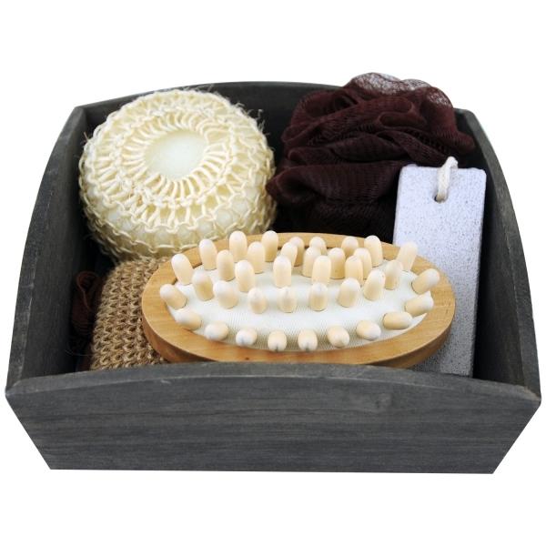 Coffret cadeau avec accessoires et corbeille en bois pour le Bain 6 Pièces