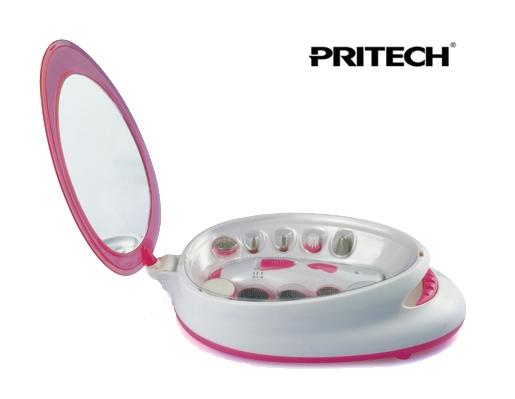 Coffret de soins Manucure et Pédicure avec seche ongles intégré PRITECH Rose