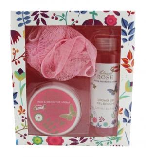 boite cadeau avec produits pour le bain parfumés à la rose pas chere