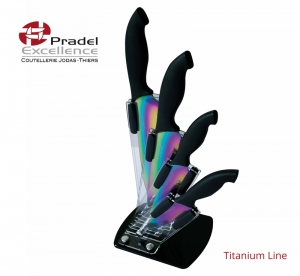 support plastique avec 4 couteaux titane PRADEL EXCELLENCE BC004TI