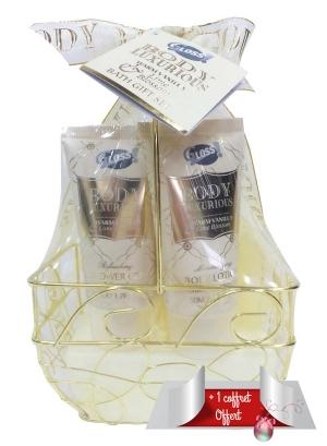 Coffret cadeau Panière Métal pour le Bain à la Vanille et au Tilleul BODY LUXURIOUS GOLD et son Cadeau Boite de bain