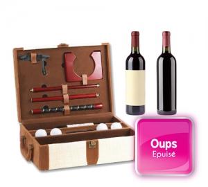 Coffret cadeau pour 2 bouteilles de vin et accessoires de golf bicolore Ecru et Marron