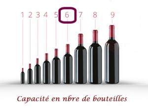 Malette pour 6 bouteilles de vin en bois verni type coffret cadeau autour du vin