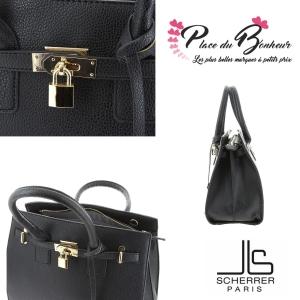 sac porté main avec cadenas SCHERRER PARIS modèle Princesse JLS8805 couleur chocolat
