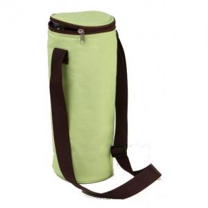 Sac isotherme pour 1 bouteille bicolore Vert anis et Chocolat avec anse de transport