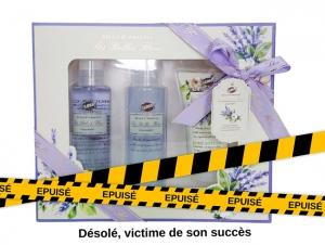 Coffret cadeau pour le Bain TRIO à la Lavande Les Belles Fleurs avec son Cadeau Mini Baignoire de bain