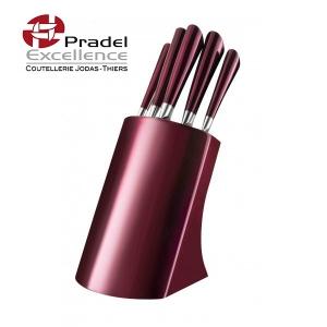 support de couteaux pour cuisine au design moderne en inox laqué rouge