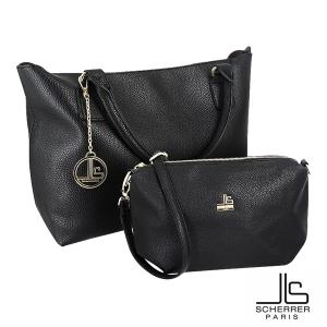 Ensemble SCHERRER sac cabas et pochette amovible noir intérieur gris