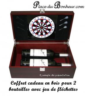 Coffret cadeau en bois pour 2 bouteilles de vin avec jeu de fléchettes