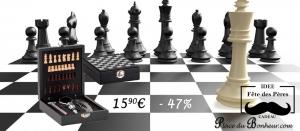 Coffret cadeau avec 4 accessoires de sommelier et son jeu d'échec Noir