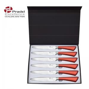 coffret cadeau avec 6 couteaux à steak prestige lame effet damas