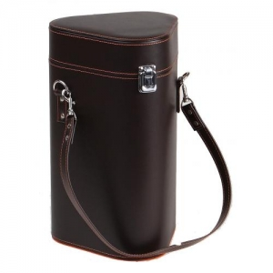 Coffret cadeau en simili cuir lisse contenance 3 bouteilles coloris marron