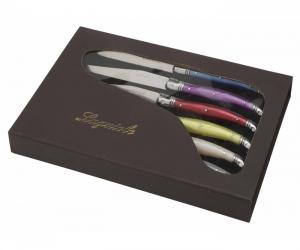 boite cadeau LUXE Laguiole 6 couteaux manches coloris pastel I7209C6