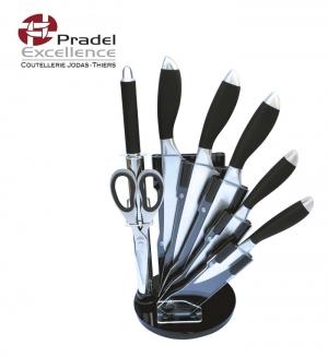 support plexi PRADEL EXCELLENCE 5 couteaux et accessoires Noir et inox