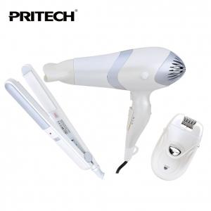 Coffret 3en1 Seche cheveux, lisseur, épilateur pour femme PRITECH