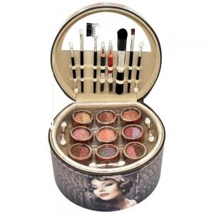 Valisette en forme de vanity pour le maquillage avec 36 pieces rouge a levres fard a paupiere