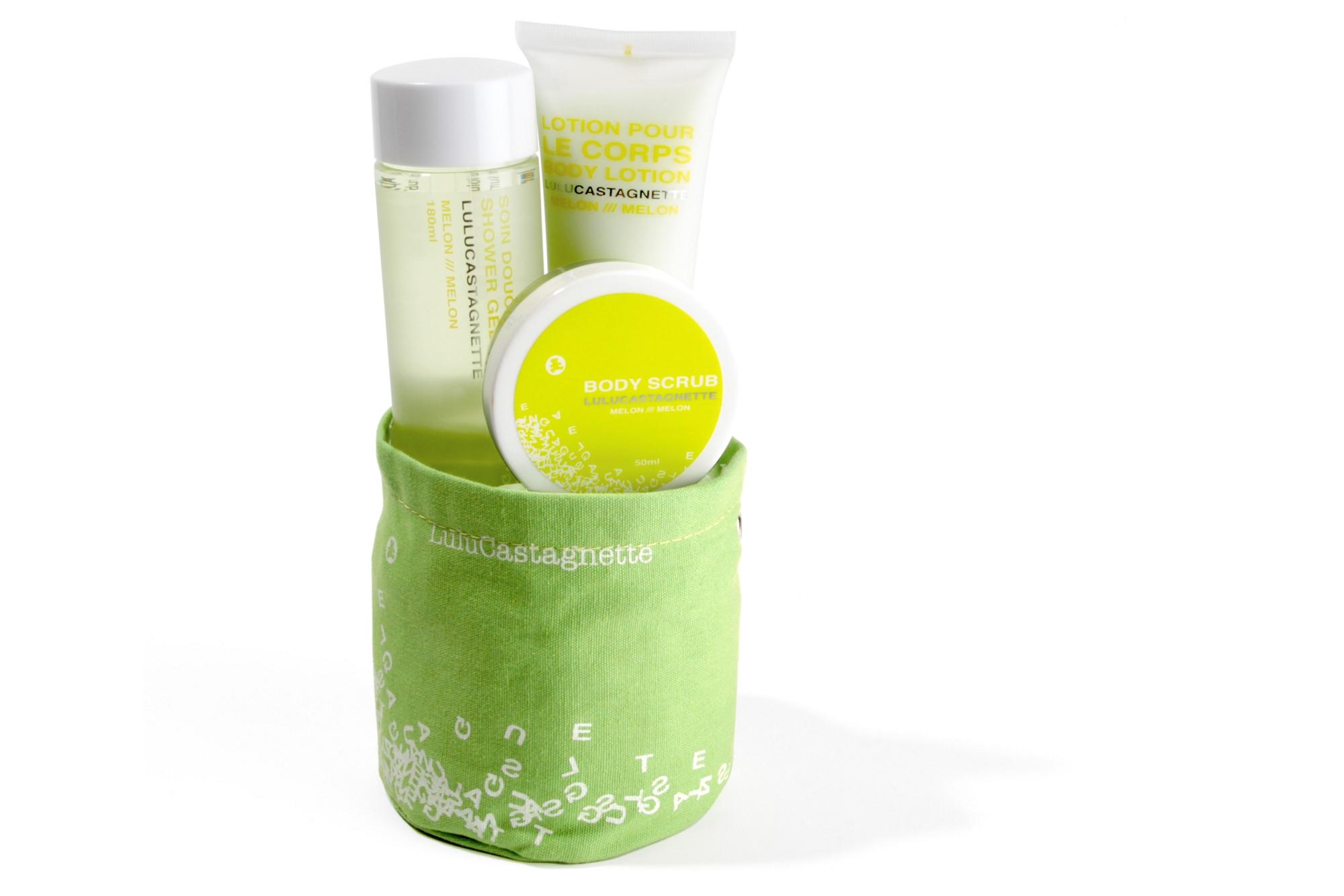 Place du bonheur lulu castagnette petit sac sac pochon soins pour bain douche au melon for Petit bain douche