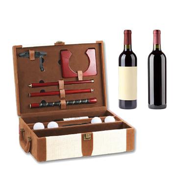 place du bonheur df vannerie coffret cadeau pour 2 bouteilles et ses accessoires de golf. Black Bedroom Furniture Sets. Home Design Ideas